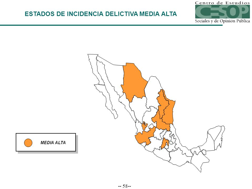 -- 58-- MEDIA ALTA ESTADOS DE INCIDENCIA DELICTIVA MEDIA ALTA
