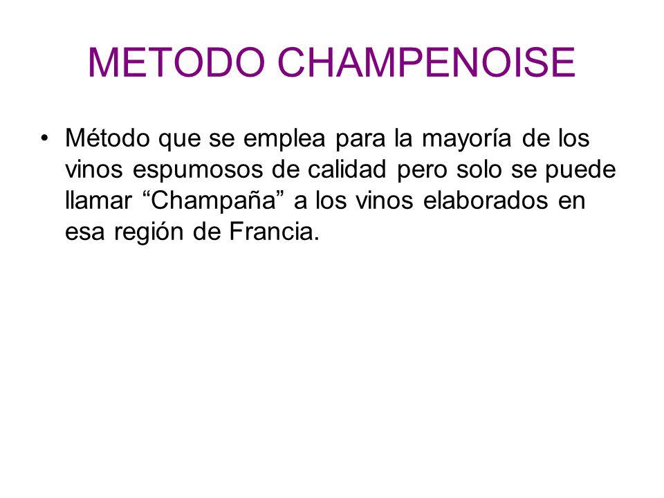 METODO CHAMPENOISE Método que se emplea para la mayoría de los vinos espumosos de calidad pero solo se puede llamar Champaña a los vinos elaborados en esa región de Francia.
