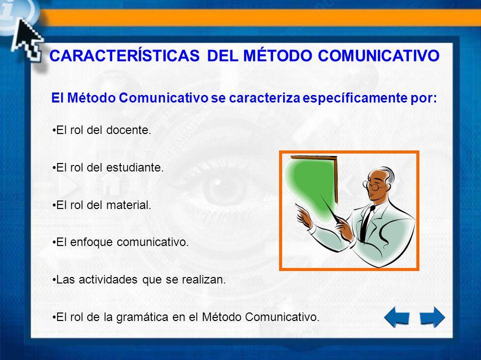 CARACTERÍSTICAS DEL MÉTODO COMUNICATIVO El Método Comunicativo se caracteriza específicamente por: El rol del docente. El rol del estudiante. El rol d