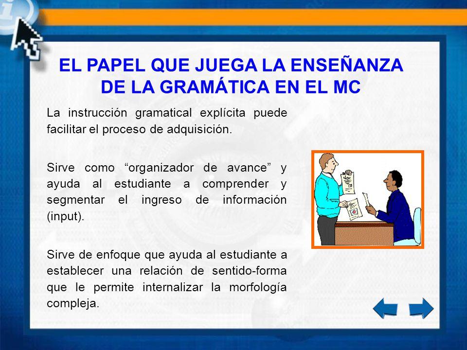 EL PAPEL QUE JUEGA LA ENSEÑANZA DE LA GRAMÁTICA EN EL MC La instrucción gramatical explícita puede facilitar el proceso de adquisición. Sirve como org