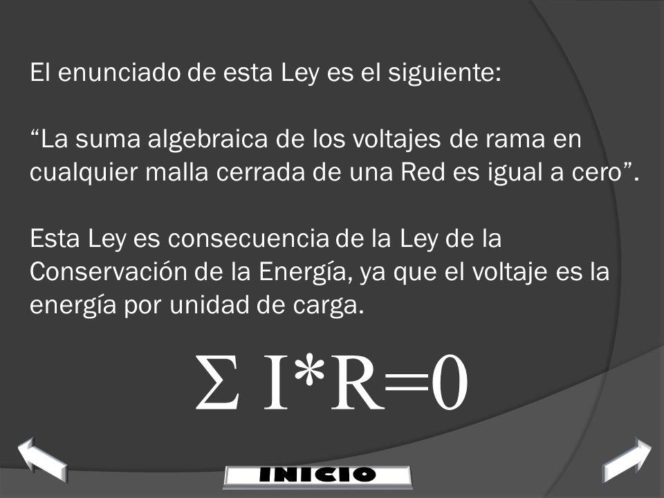 El enunciado de esta Ley es el siguiente: La suma algebraica de los voltajes de rama en cualquier malla cerrada de una Red es igual a cero. Esta Ley e