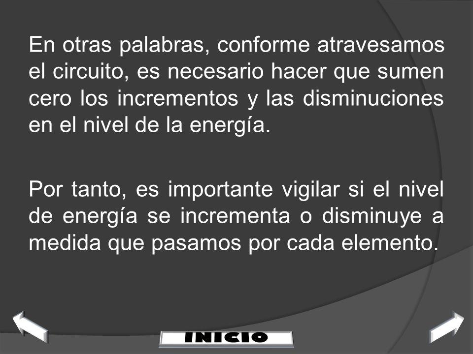 En otras palabras, conforme atravesamos el circuito, es necesario hacer que sumen cero los incrementos y las disminuciones en el nivel de la energía.
