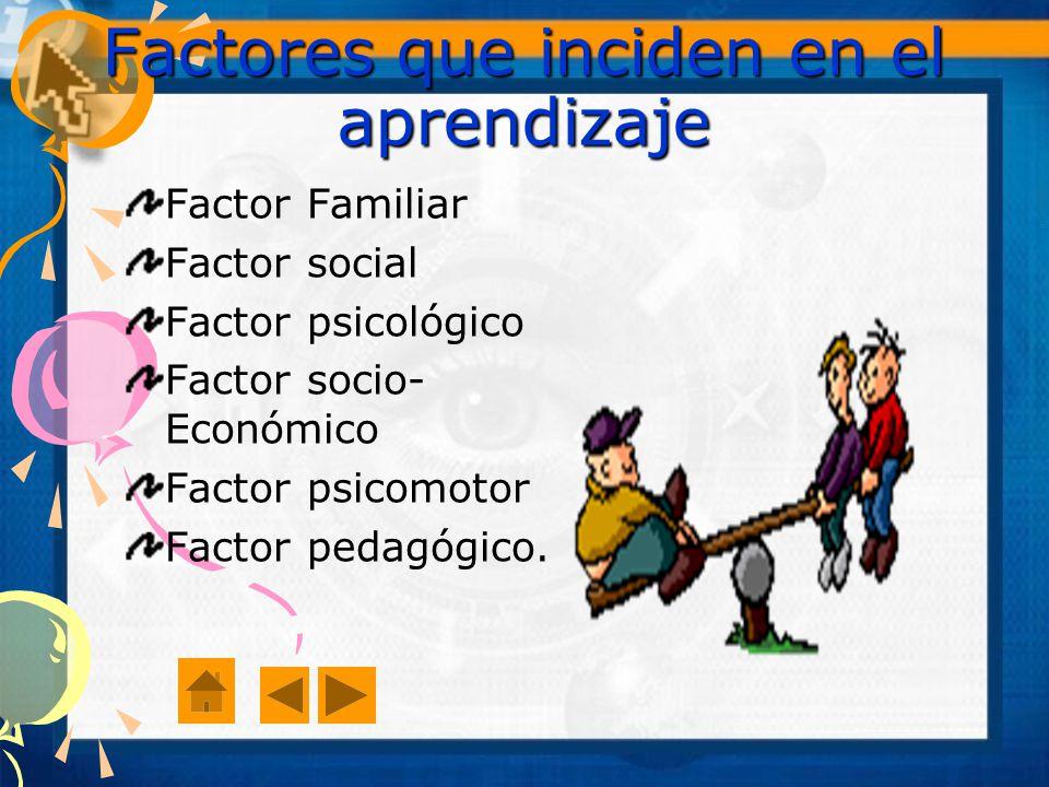 Factores que inciden en el aprendizaje Factor Familiar Factor social Factor psicológico Factor socio- Económico Factor psicomotor Factor pedagógico.