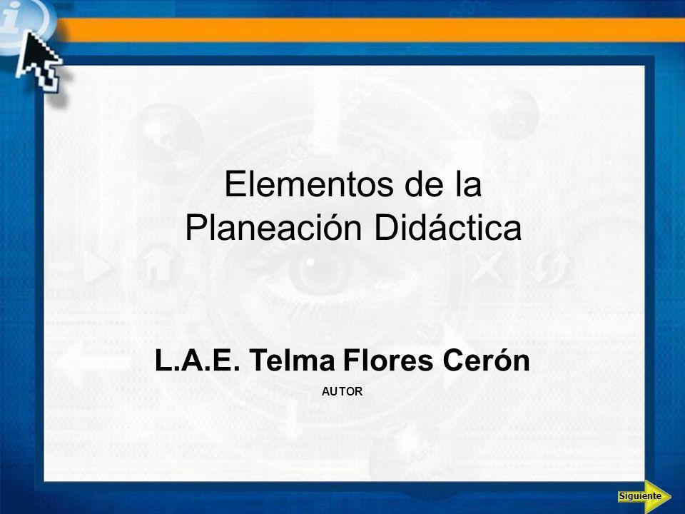 Elementos de la Planeación Didáctica L.A.E. Telma Flores Cerón AUTOR Siguiente