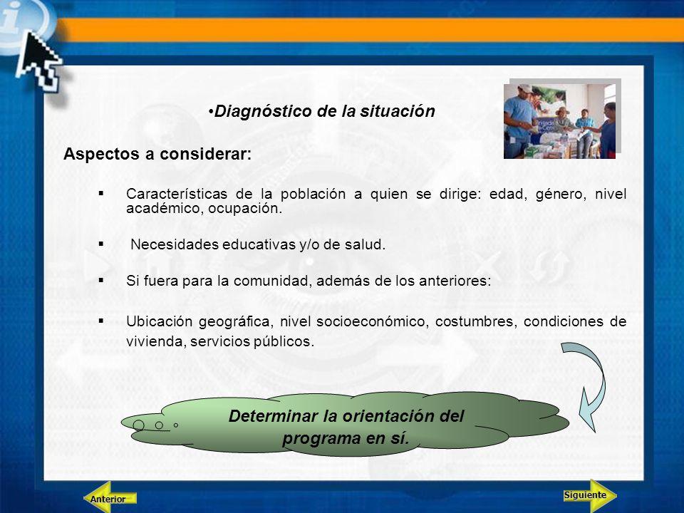 Diagnóstico de la situación Aspectos a considerar: Características de la población a quien se dirige: edad, género, nivel académico, ocupación. Necesi