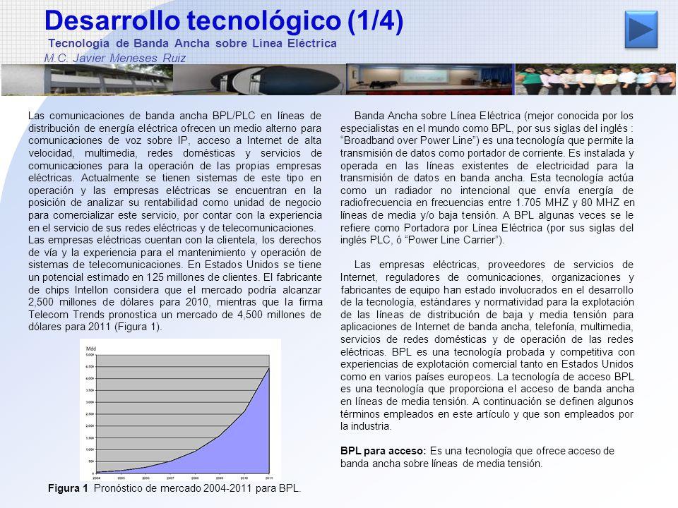 Desarrollo tecnológico (2/4) Tecnología de Banda Ancha sobre Línea Eléctrica M.C.