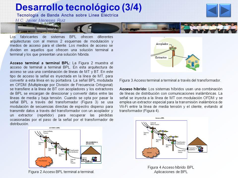 Desarrollo tecnológico (4/4) Tecnología de Banda Ancha sobre Línea Eléctrica M.C.