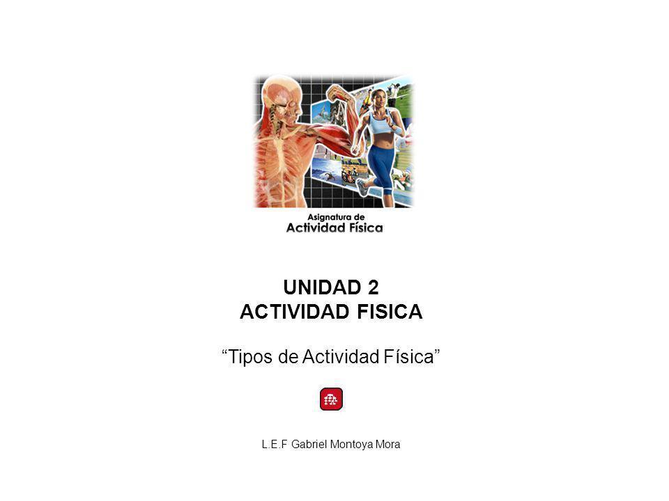 UNIDAD 2 ACTIVIDAD FISICA Tipos de Actividad Física L.E.F Gabriel Montoya Mora