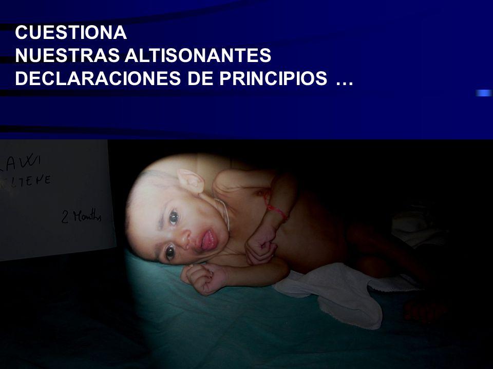 CUESTIONA NUESTRAS ALTISONANTES DECLARACIONES DE PRINCIPIOS …