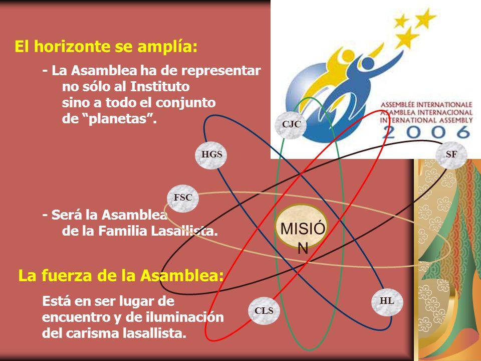 El horizonte se amplía: - La Asamblea ha de representar no sólo al Instituto sino a todo el conjunto de planetas.