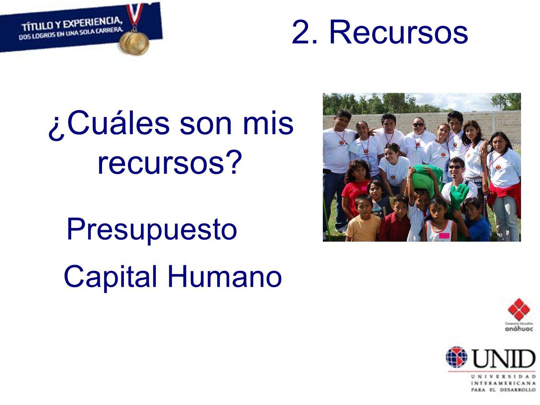 2. Recursos ¿Cuáles son mis recursos? Presupuesto Capital Humano