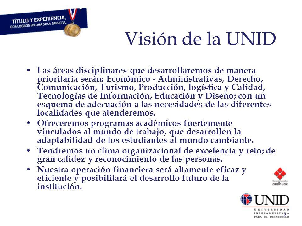 6 Visión de la UNID Las áreas disciplinares que desarrollaremos de manera prioritaria serán: Económico - Administrativas, Derecho, Comunicación, Turis