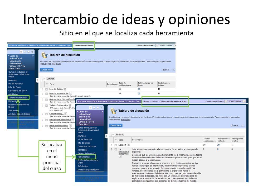 Intercambio de ideas y opiniones Sitio en el que se localiza cada herramienta Se localiza en el menú principal del curso