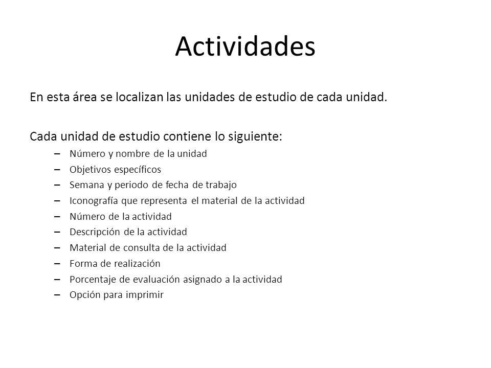 Actividades En esta área se localizan las unidades de estudio de cada unidad. Cada unidad de estudio contiene lo siguiente: – Número y nombre de la un
