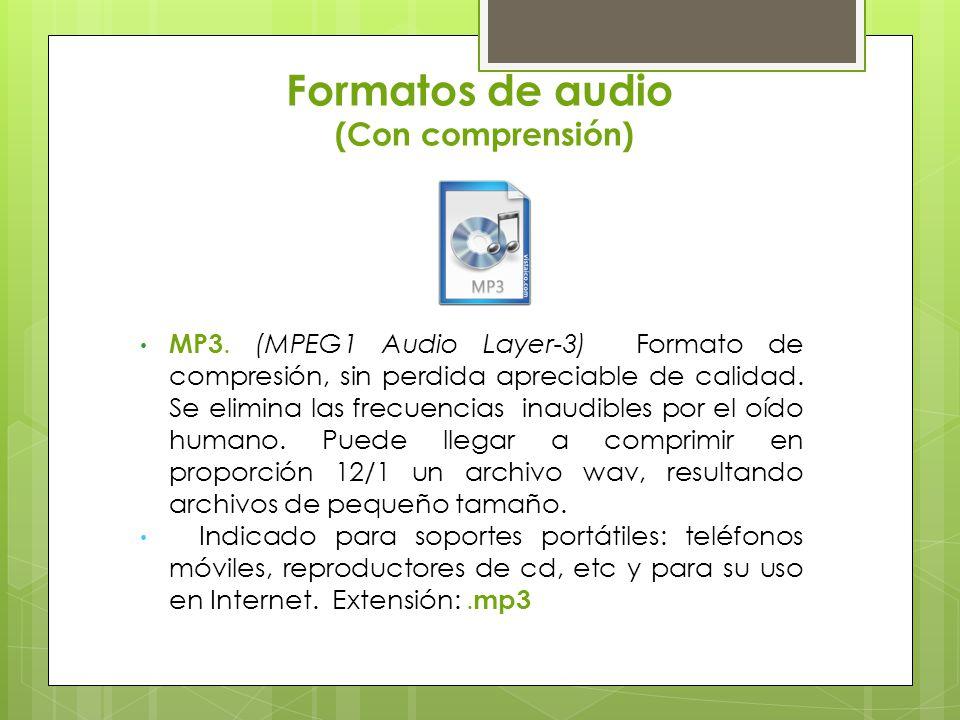 Formatos de audio (Con comprensión) WMA (Windows Media Audio).