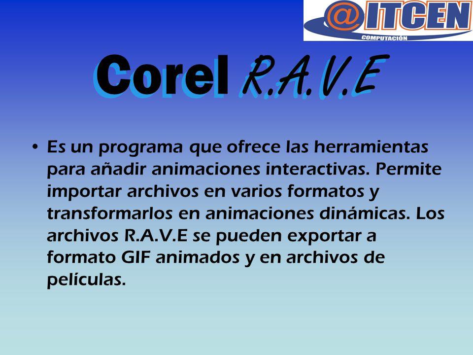 Corel R.A.V.E Es un programa que ofrece las herramientas para añadir animaciones interactivas. Permite importar archivos en varios formatos y transfor