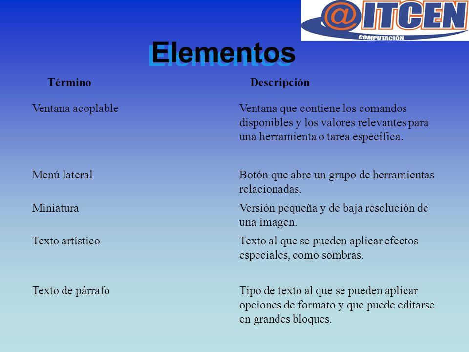 Elementos Ventana acoplableVentana que contiene los comandos disponibles y los valores relevantes para una herramienta o tarea específica. Menú latera