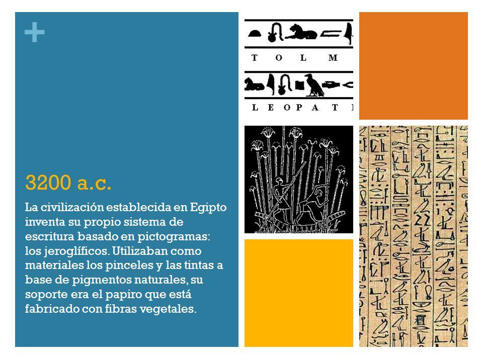 + 3200 a.c. La civilización establecida en Egipto inventa su propio sistema de escritura basado en pictogramas: los jeroglíficos. Utilizaban como mate