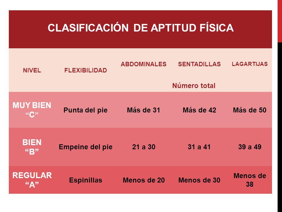 CLASIFICACIÓN DE APTITUD FÍSICA NIVELFLEXIBILIDAD ABDOMINALESSENTADILLAS LAGARTIJAS Número total MUY BIEN C Punta del pieMás de 31Más de 42Más de 50 B