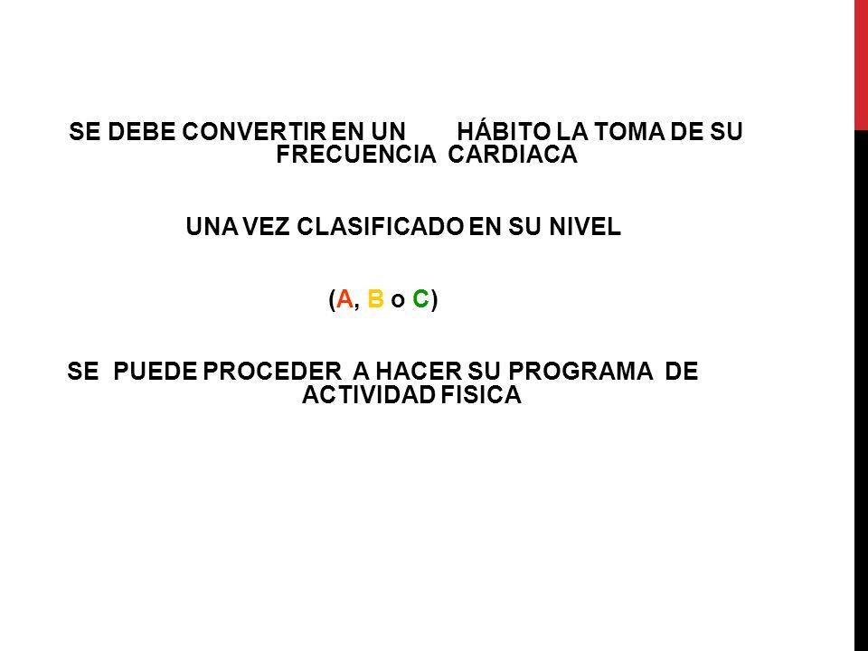 SE DEBE CONVERTIR EN UN HÁBITO LA TOMA DE SU FRECUENCIA CARDIACA UNA VEZ CLASIFICADO EN SU NIVEL (A, B o C) SE PUEDE PROCEDER A HACER SU PROGRAMA DE A
