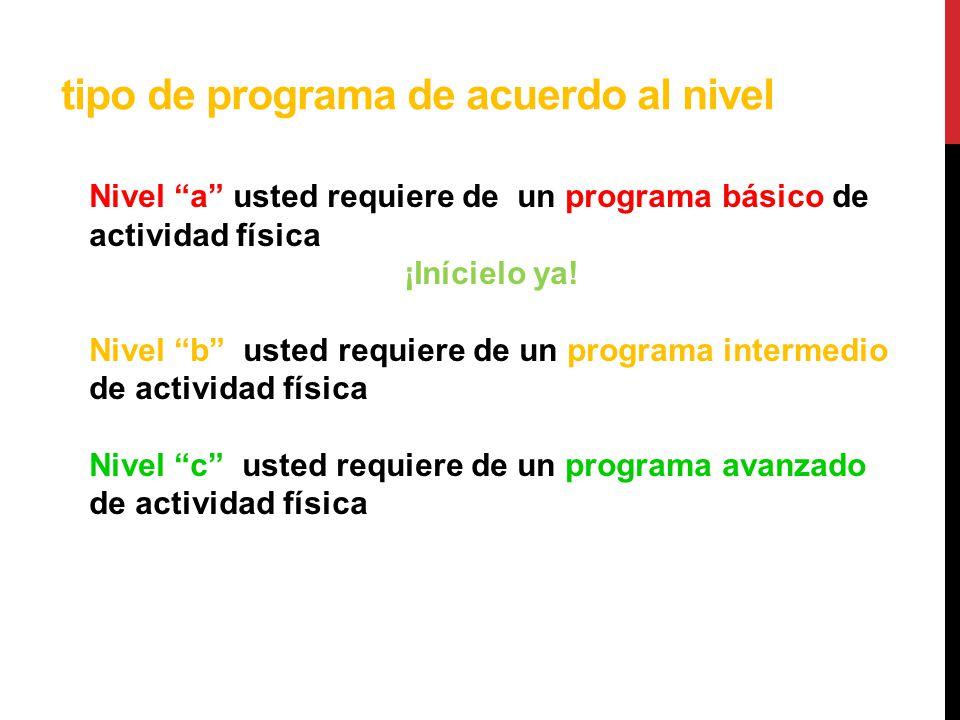tipo de programa de acuerdo al nivel Nivel a Nivel a usted requiere de un programa básico de actividad física ¡Inícielo ya! Nivel b Nivel b usted requ