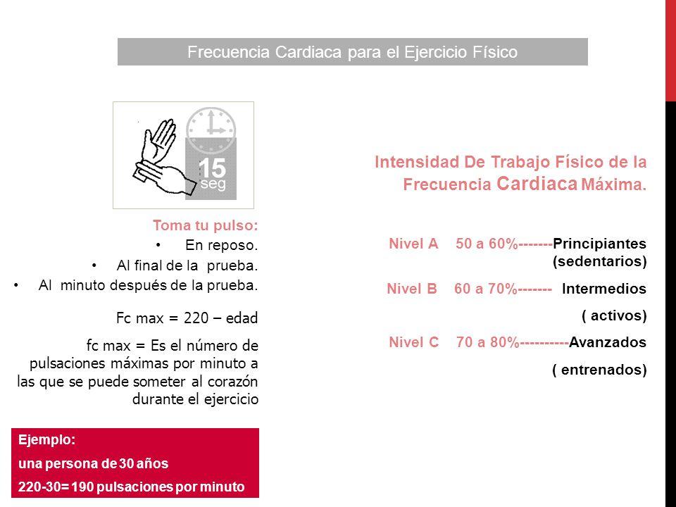Fc max = 220 – edad fc max = Es el número de pulsaciones máximas por minuto a las que se puede someter al corazón durante el ejercicio Ejemplo: una pe