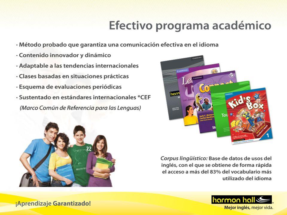 Cursos Harmon Hall NivelCertificaciones MCER (Marco Común Europeo de Referecia para las Lenguas) A1 A2 B1 C1 / C2 / C3 / C4 C5 / C6 / C7 / C8 C9/C10/C11/C12 C13/C14/C15/C16 Nivel 1 Nivel 2 Nivel 3 Nivel 4 C14 – C16 TOEIC ® C16 PET TOEFL ® Preparation Program TOEFL ® ITP C6 – C8 TOEIC Bridge Kids Pre - teens C12 KET Conversation Course Michigan ECCE