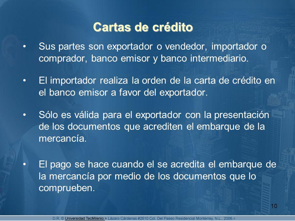 10 Cartas de crédito Sus partes son exportador o vendedor, importador o comprador, banco emisor y banco intermediario. El importador realiza la orden