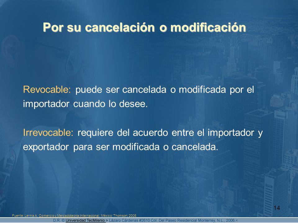 14 Por su cancelación o modificación Revocable: puede ser cancelada o modificada por el importador cuando lo desee. Irrevocable: requiere del acuerdo