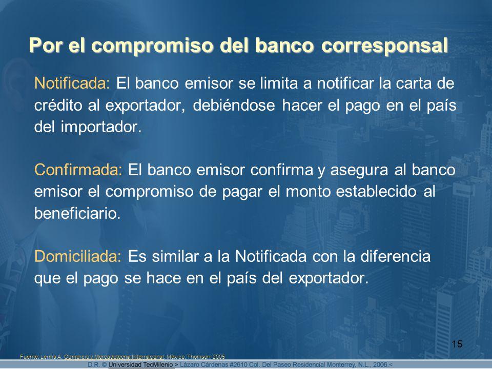 15 Por el compromiso del banco corresponsal Notificada: El banco emisor se limita a notificar la carta de crédito al exportador, debiéndose hacer el p