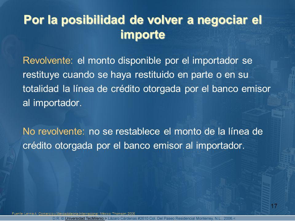 17 Por la posibilidad de volver a negociar el importe Revolvente: el monto disponible por el importador se restituye cuando se haya restituido en part