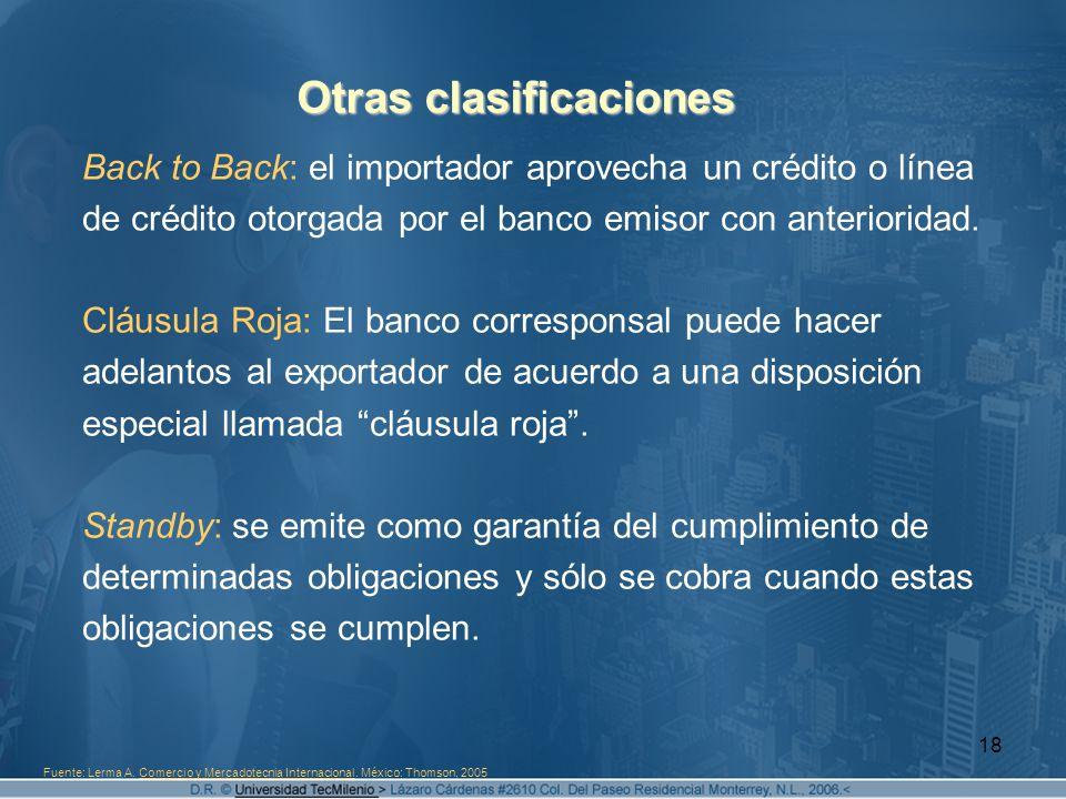 18 Otras clasificaciones Back to Back: el importador aprovecha un crédito o línea de crédito otorgada por el banco emisor con anterioridad. Cláusula R