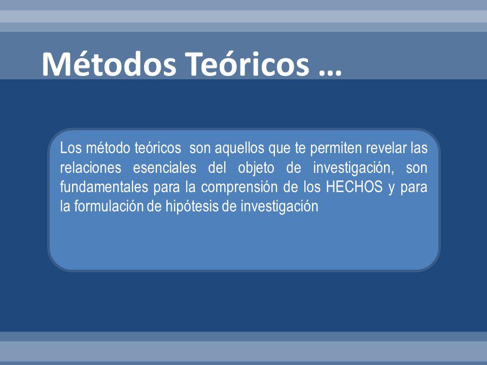 Los método teóricos son aquellos que te permiten revelar las relaciones esenciales del objeto de investigación, son fundamentales para la comprensión