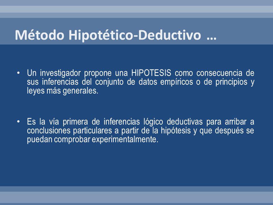 Un investigador propone una HIPOTESIS como consecuencia de sus inferencias del conjunto de datos empíricos o de principios y leyes más generales. Es l