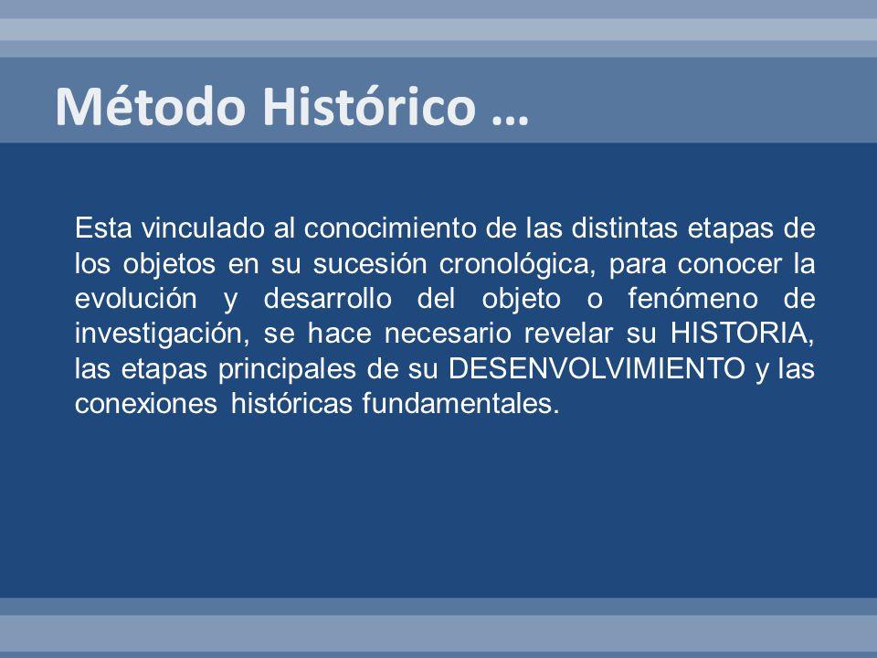 Esta vinculado al conocimiento de las distintas etapas de los objetos en su sucesión cronológica, para conocer la evolución y desarrollo del objeto o