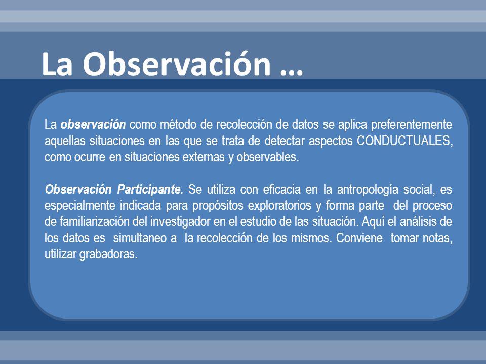 La observación como método de recolección de datos se aplica preferentemente aquellas situaciones en las que se trata de detectar aspectos CONDUCTUALE