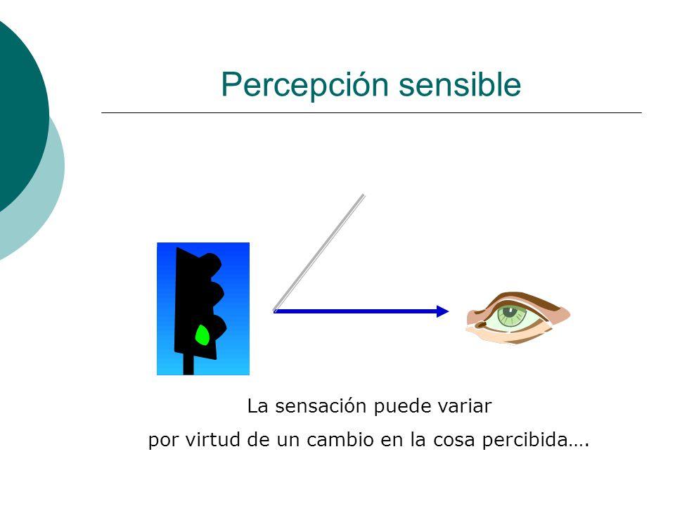 Percepción sensible …O bien, la sensación puede variar por virtud de un cambio en quien percibe.