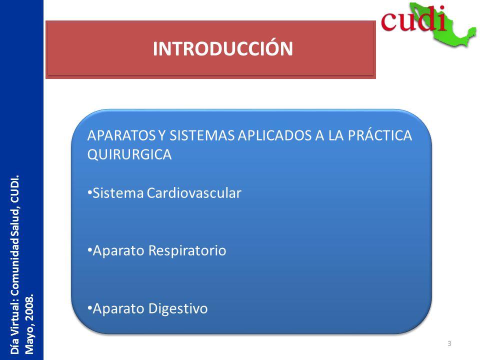 3 INTRODUCCIÓN Día Virtual: Comunidad Salud, CUDI. Mayo, 2008. APARATOS Y SISTEMAS APLICADOS A LA PRÁCTICA QUIRURGICA Sistema Cardiovascular Aparato R