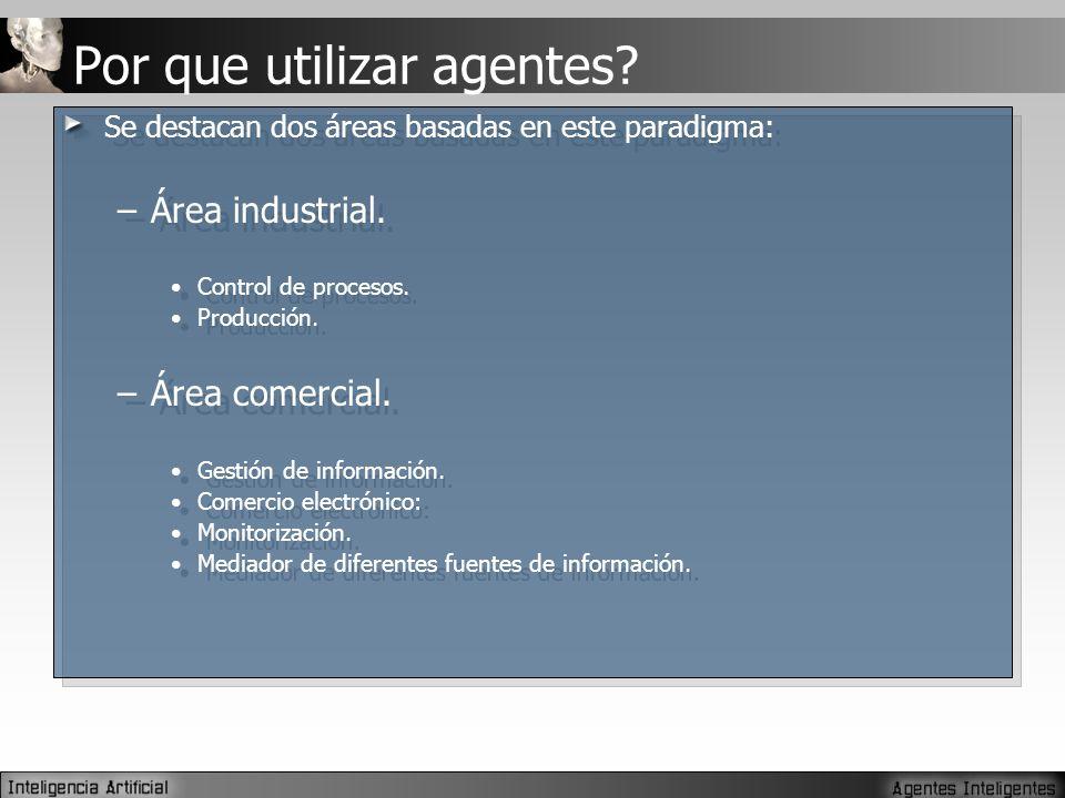 Se destacan dos áreas basadas en este paradigma: –Área industrial.