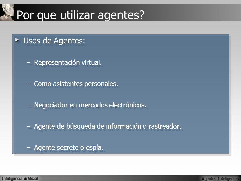 Usos de Agentes: –Representación virtual.–Como asistentes personales.