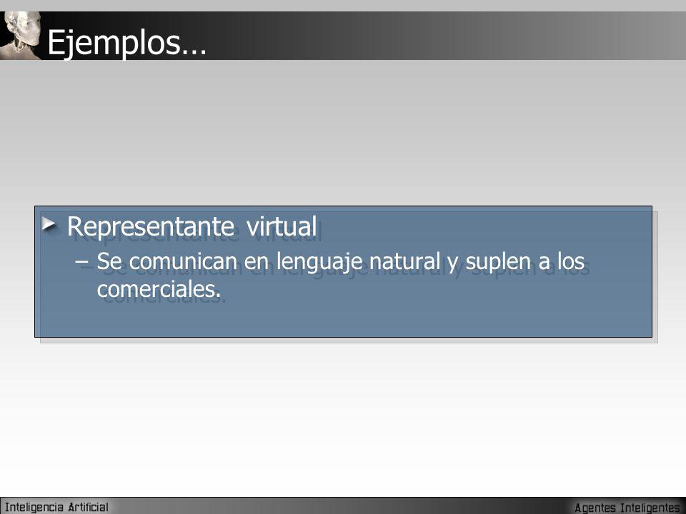 Ejemplos… Representante virtual –Se comunican en lenguaje natural y suplen a los comerciales.