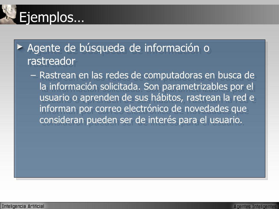 Ejemplos… Agente de búsqueda de información o rastreador –Rastrean en las redes de computadoras en busca de la información solicitada.