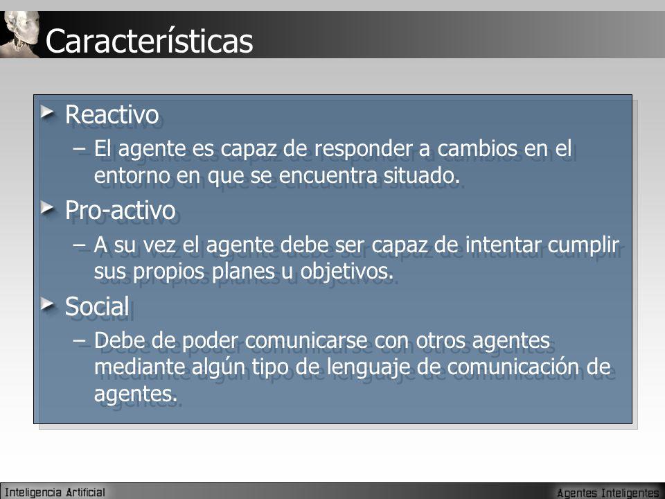 Características Reactivo –El agente es capaz de responder a cambios en el entorno en que se encuentra situado.