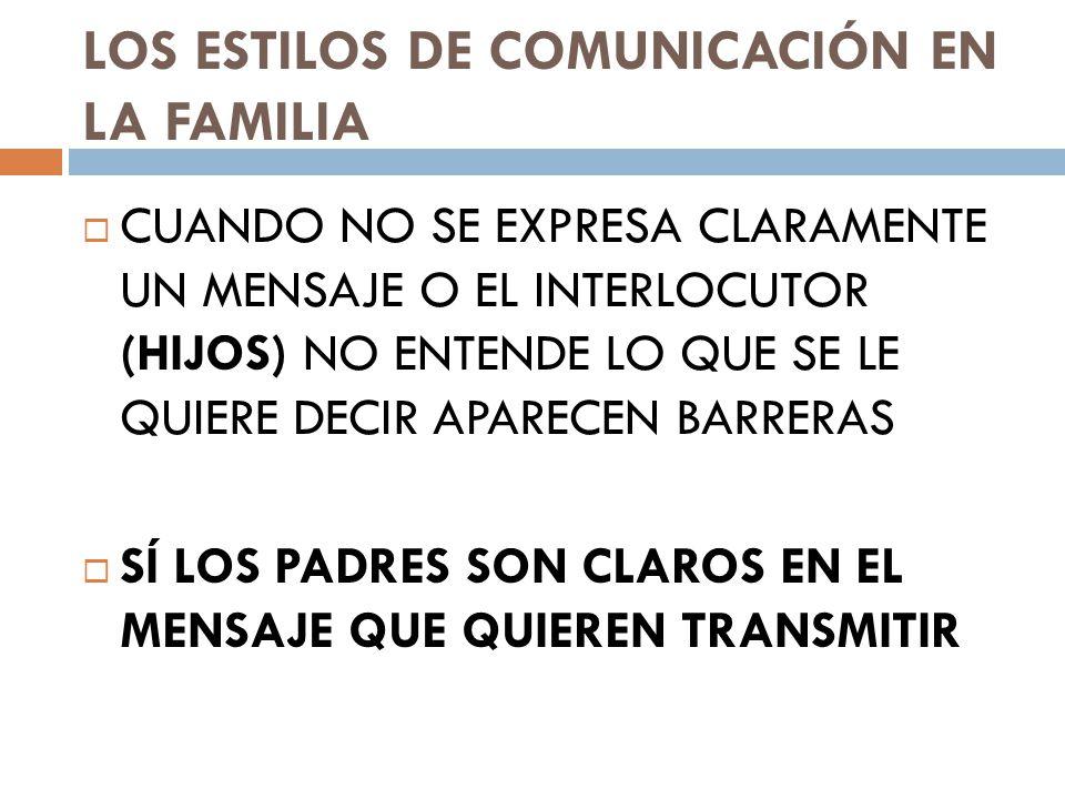 LOS ESTILOS DE COMUNICACIÓN EN LA FAMILIA CUANDO NO SE EXPRESA CLARAMENTE UN MENSAJE O EL INTERLOCUTOR (HIJOS) NO ENTENDE LO QUE SE LE QUIERE DECIR APARECEN BARRERAS SÍ LOS PADRES SON CLAROS EN EL MENSAJE QUE QUIEREN TRANSMITIR