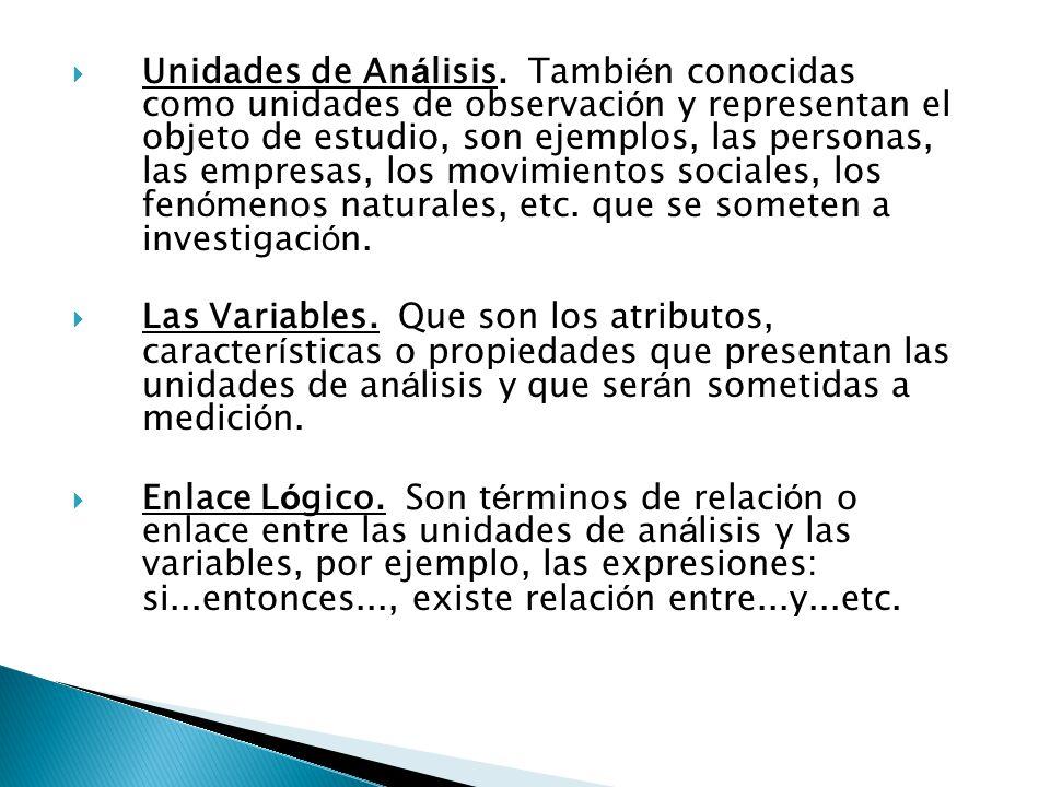 Unidades de An á lisis. Tambi é n conocidas como unidades de observaci ó n y representan el objeto de estudio, son ejemplos, las personas, las empresa