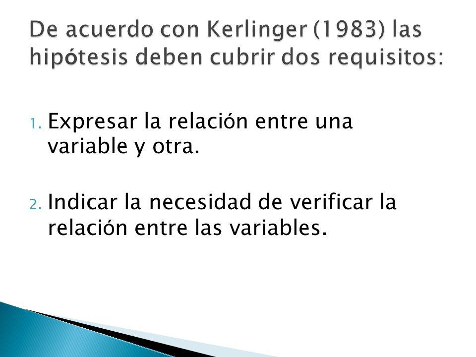 1. Expresar la relaci ó n entre una variable y otra. 2. Indicar la necesidad de verificar la relaci ó n entre las variables.