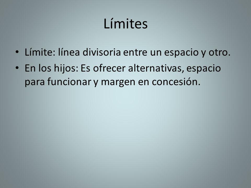 Límites Límite: línea divisoria entre un espacio y otro. En los hijos: Es ofrecer alternativas, espacio para funcionar y margen en concesión.