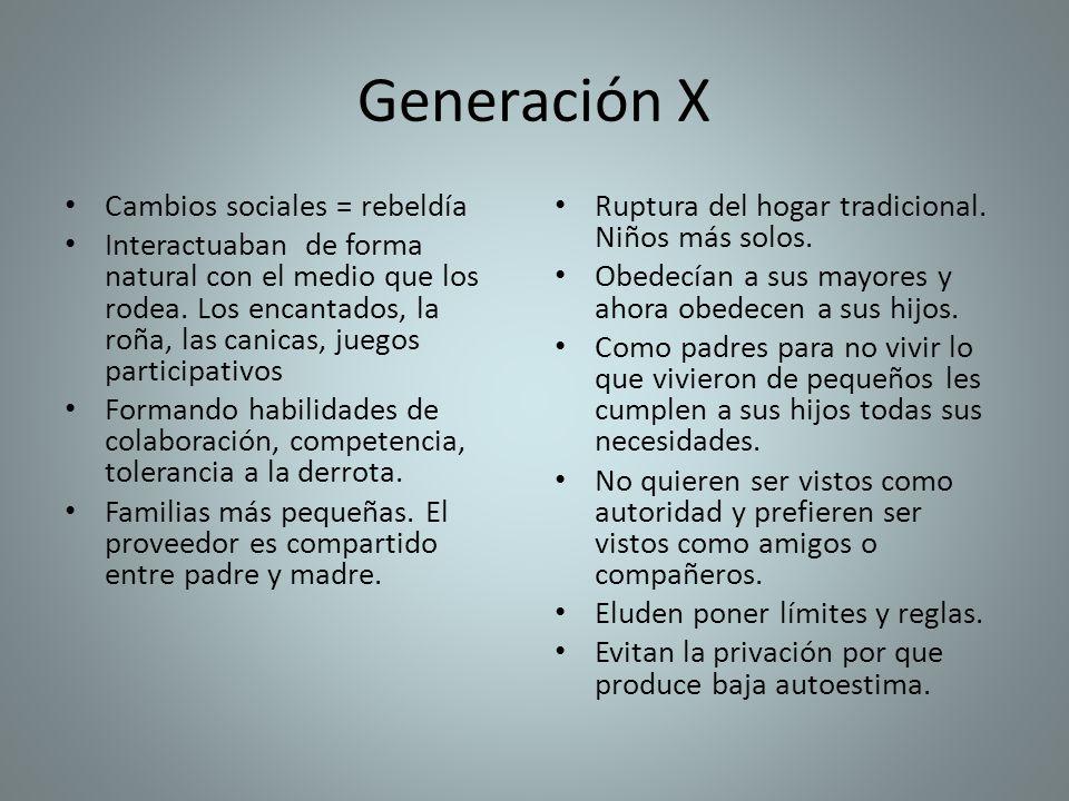 Generación X Cambios sociales = rebeldía Interactuaban de forma natural con el medio que los rodea. Los encantados, la roña, las canicas, juegos parti