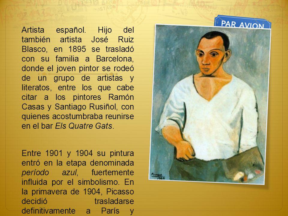 Artista español. Hijo del también artista José Ruiz Blasco, en 1895 se trasladó con su familia a Barcelona, donde el joven pintor se rodeó de un grupo