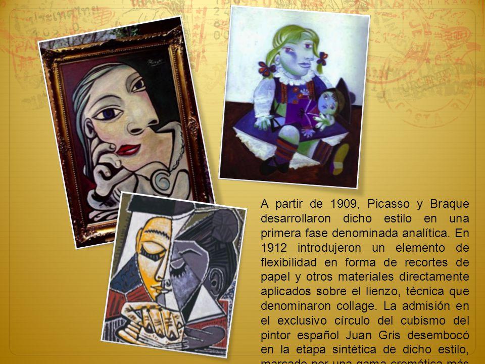 A partir de 1909, Picasso y Braque desarrollaron dicho estilo en una primera fase denominada analítica. En 1912 introdujeron un elemento de flexibilid